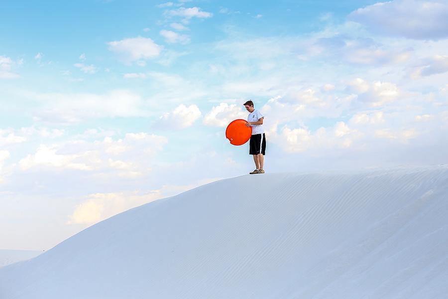 Sled on gypsum dune fields.